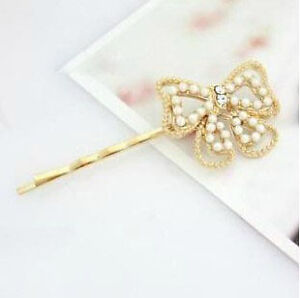 Sweet Cute Korean Style Pearl Rhinestone Mixed Shape Hair Clips Jewelry 7 Styles
