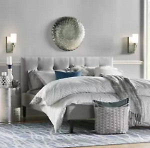 King Bed-frame, Upholstered, Grey