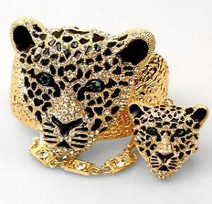 TIGER Leopard Cat Slave Ring Bracelet & Ring Set Gold Rhinestone Teal Green Eyes