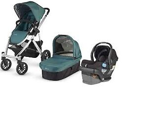 Green Uppababy Vista Stroller-bassinet+free diaper bag ...