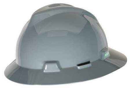 MSA 454731 Hard Hat,Full Brim,Gray