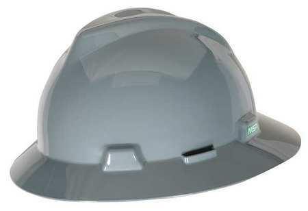 Msa 454731 Full Brim Hard Hat, Type 1, Class E, Pinlock (4-Point), Gray
