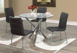 BRAND NEW ROUND GLASS DINNING TABLE WITH FOUR CHAIR