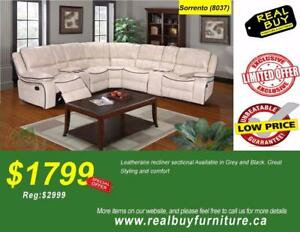 Store Wide Super SALE  BRAND NEW Leather Recliner Sectional $1799 (Sale Ends:Oct/23/2017)