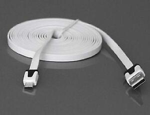 3 Meters Flat Micro USB Data Sync Charge Cable - White - For Sam