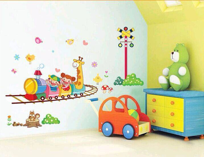 Train Ride Cartoon Wall Decal Wall Stickers Wallpaper