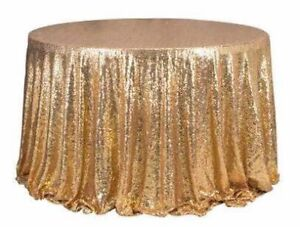 Gold sequin round tablecloth for rent