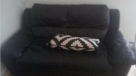 Black real leather sofa (deliver available)