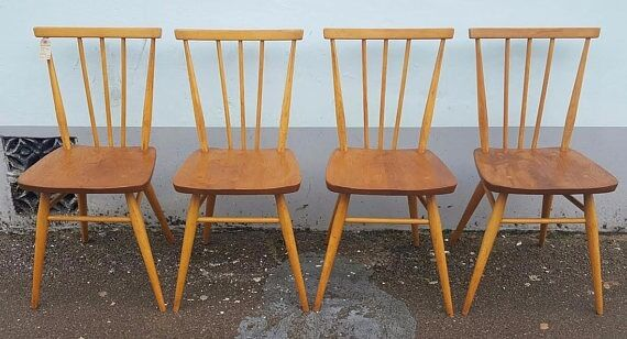 set of four 1960s ercol 391 stick back dining/kitchen chairs
