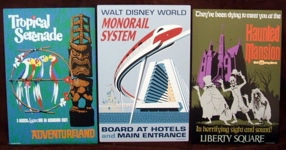 Walt Disney World Retro Magic Kingdom 3 piece boxed Tin Sign Set
