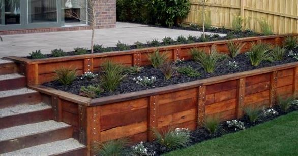 Garden edging sleepers hardwood building materials for Gardening tools brisbane