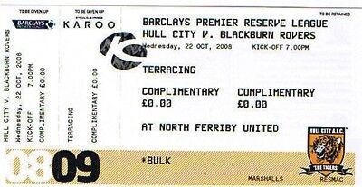 Ticket - Hull City Reserves v Blackburn Rovers Reserves 22.10.08