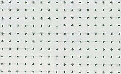 1:12 Scale Green & White Diamond Pattern Dollhouse Tile Flooring #FF60646