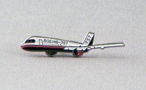 Boeing 757 passenger airplane pin badge