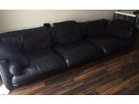 DFS Genuine Black Leather Large 6 Size Seat Sofa 300cm x 104cm