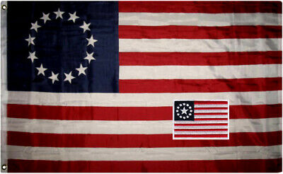 """Betsy Ross 3x5 ft flag and 2.5""""x3.5"""" inches Hook and Loop back embroidered patch for sale  Alpena"""