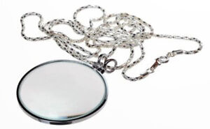 5X-Necklace-Magnifier-1-3-4-Glass-Lens-36-Silver-Chain-MONOCLE-SPECTACLE
