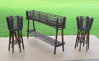 Antique Adirondack Style Rustic Twig Garden Planter & Plant Stands 3pc set - Garden Style Plant Stands