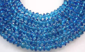 GENUINE PEACOCK BLUE APATITE SMOOTH RONDELLE BEADS 4 mm 13.5