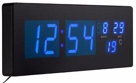 BLUE LED WALL CLOCK DIGITAL LARGE MODERN JUMBO XL ALARM DATE TIME TEMPERATURE BRAND NEW BOXED UK