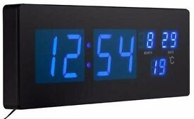 BLUE LED WALL CLOCK DIGITAL LARGE MODERN JUMBO XL ALARM DATE TIME TEMPERATURE BRAND NEW BOXED UK