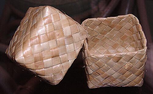 """Hawaiian Lauhala Weaved 6 Gift Boxes Baskets Keepsake Hawaii Hula Supply 2""""x2"""" N"""