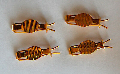 VINTAGE 4 GOLD ALL METAL TINY SMALL BARRETTES BARRETTE HAIR CLIPS