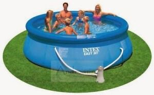 INTEX EASY SET 12' POOL WITH COVER, LADDER, CHEMICALS