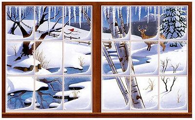 WINTER Scene Setter party wall decoration kit 5' scenic window snow deer brook - Snow Scene Setter