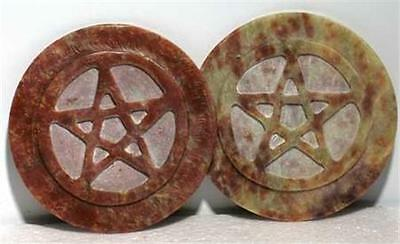 "3"" Soapstone Pentagram Altar Tile or Candle Holder!"