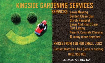 Let us mow your lawn Kingside Garden Services