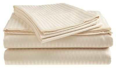 King Size Beige 400 Thread Count 100% Cotton Sateen Dobby Stripe Sheet Set