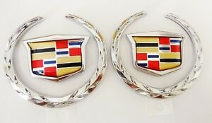 NEW!! Cadillac OEM WREATH & CREST!! Chrome! SET OF 2!!