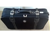 x2 Soft Suitcases (Black and Dark Navy) with wheels buckle storage travel holiday luggage