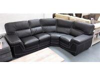 BRAND NEW black leather corner sofa, £1349.