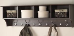 Entryway shelf with hooks and baskets