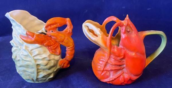 TWO! antique vintage LOBSTER creamer pitchers ROYAL BAYREAUTH Germany Cabbage