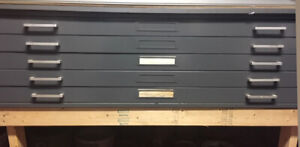 5-Drawer Steel Flat File, Black, on 2x4 stand