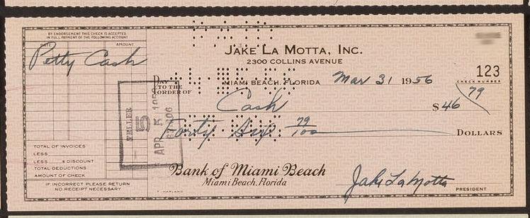 Jake LaMotta Signed Check! Raging Bull!