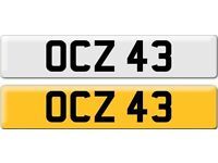 *OCZ 43* Dateless Personalised Cherished Number Plate Audi BMW M3 Ford VW Caddy Mercedes Vauxhall