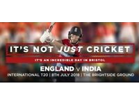 India v England - T20 - Bristol, Sunday 8th July - 4 or 2 tickets