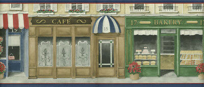 BAKERY, FLORIST AND CAFE STORE FRONTS DARK  BLUE TRIM WALLPAPER BORDER