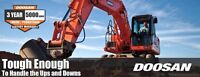 Doosan Heavy Equipment 0% Financing 110% to apply on rent to own