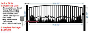 NEW ACREAGE & COMMERCIAL IRON SWINGING DRIVEWAY GATE & FENCING