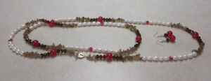 Red Crackle and Freshwater Pearl Necklace, Earrings