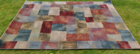 Large Modern Rug. Lovely Red, Blue and Gold shades. 200x285cm. As New.