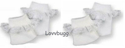 "Lovvbugg 2 Pr W Socks w Lace for 15"" - 18"" American Girl n Baby Doll or Preemie"