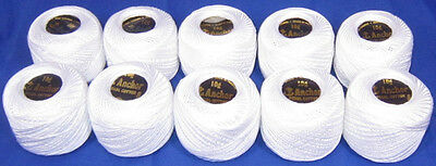 10 White Anchor Crochet Cotton Embroidery Thread Balls *Size no.8