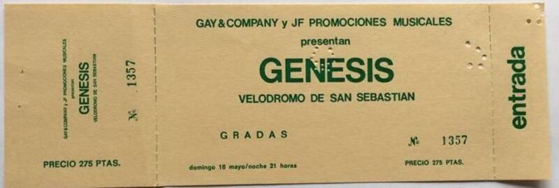 Genesis ticket Velodromo Anoeta San Sebastian 18/05/75 Lamb Lies Down tour #1357