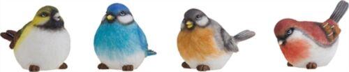 Set of 4 Resin Medium Bright Rainbow Bird Figurines #P9316